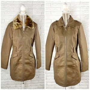 Cavalini Brown Faux Leather Coat Removable Collar